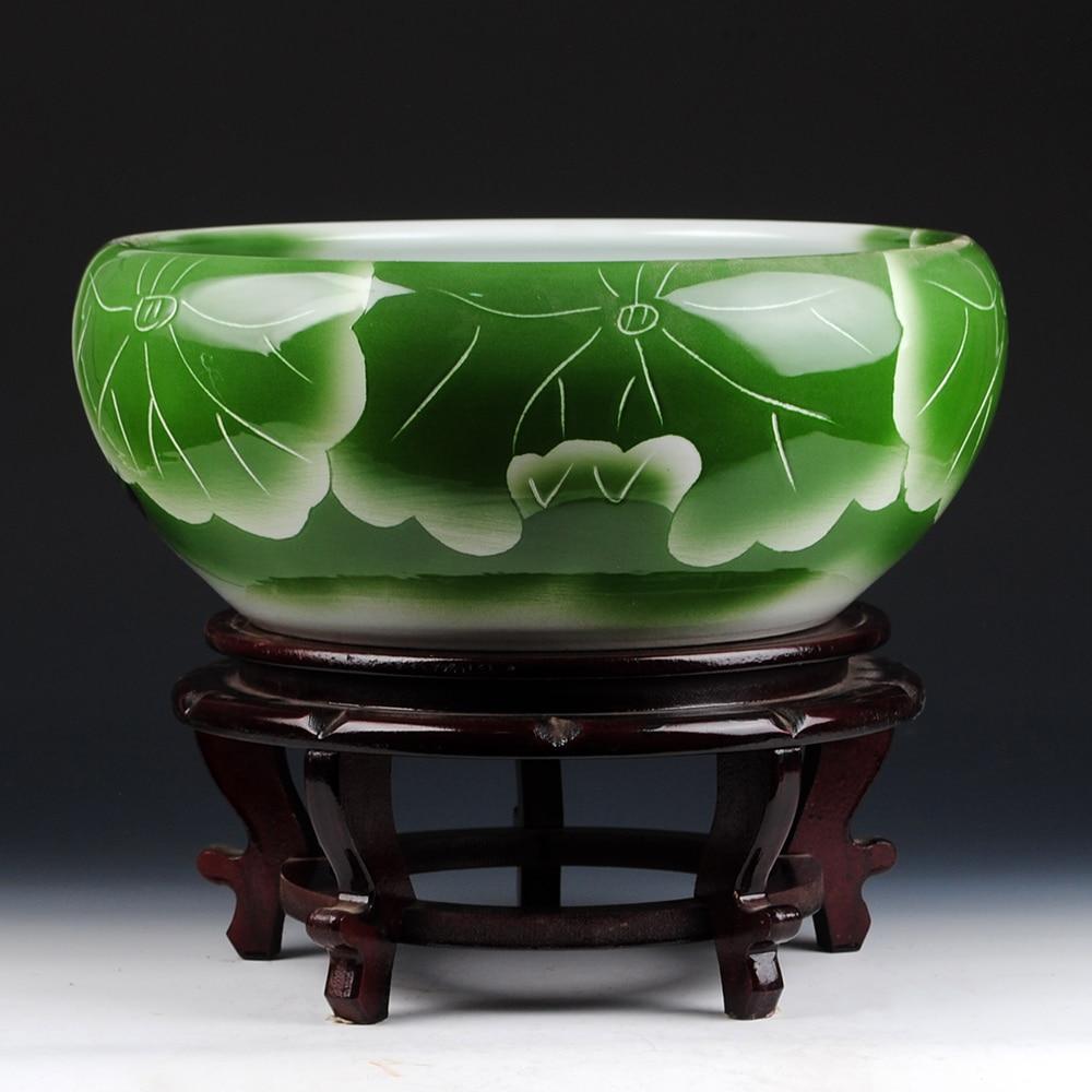 جينغدتشن-وعاء زخرفي يدوي على شكل لوتس ، سلحفاة ذهبية كبيرة ، أسطوانة كبيرة