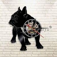 Bulldog Owner Wall Clock Nursery Decoration Gift For Aniamls Pet Lover French Bulldog Vinyl Laser Cut Clock