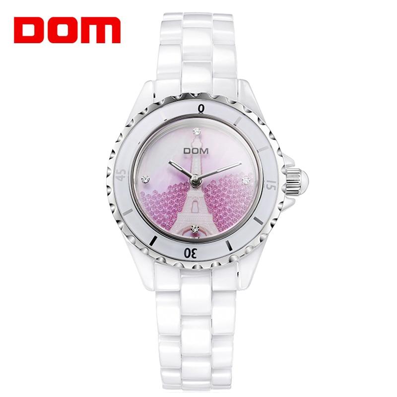 DOM Brand Fashion Watch Women Luxury Ceramic Wristwatch Women Dress Watch Casual Ceramic Clock Relogio Feminino T-598K enlarge