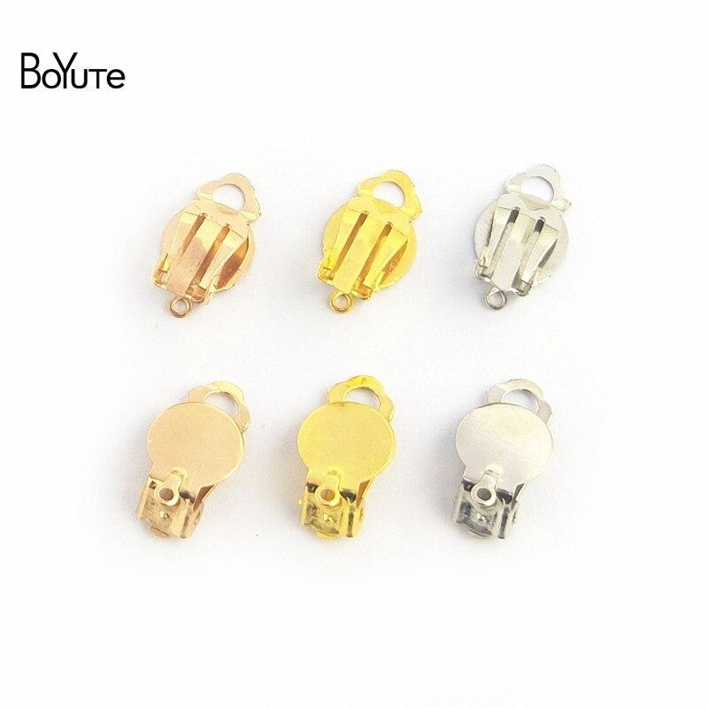 BoYuTe 100 Uds 5 colores Metal hierro sin oreja perforada Clip con 10MM en blanco Base pendientes Diy piezas de joyería Accesorios