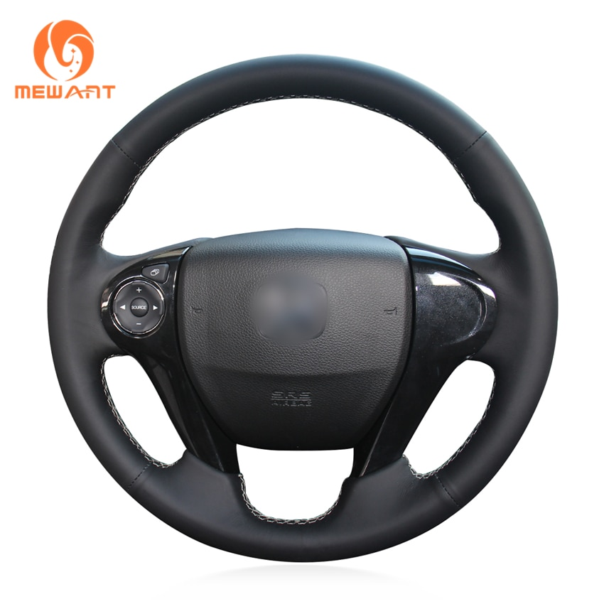 Mewant couro artificial preto mão costurar capa de volante do carro para honda accord 9 2013-2017 crostour 2013 2014 2015