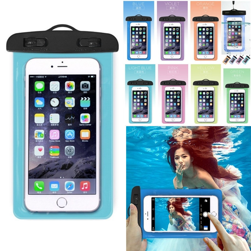 Universal claro do telefone móvel seco bolsa impermeável pvc saco de telefone celular para natação mergulho esportes aquáticos telefone caso saco 105x175mm