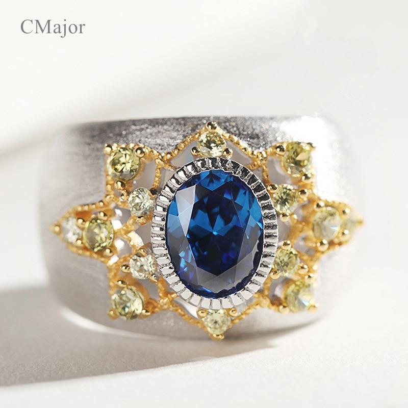 Joyería de plata pura CMajor, anillos de personalidad étnica Vintage con piedra azul para mujer