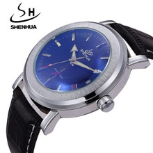 SHENHUA Top Luxury Brand Automatic Mechanical Watches For Men Small Seconds Date PU Leather band Wri