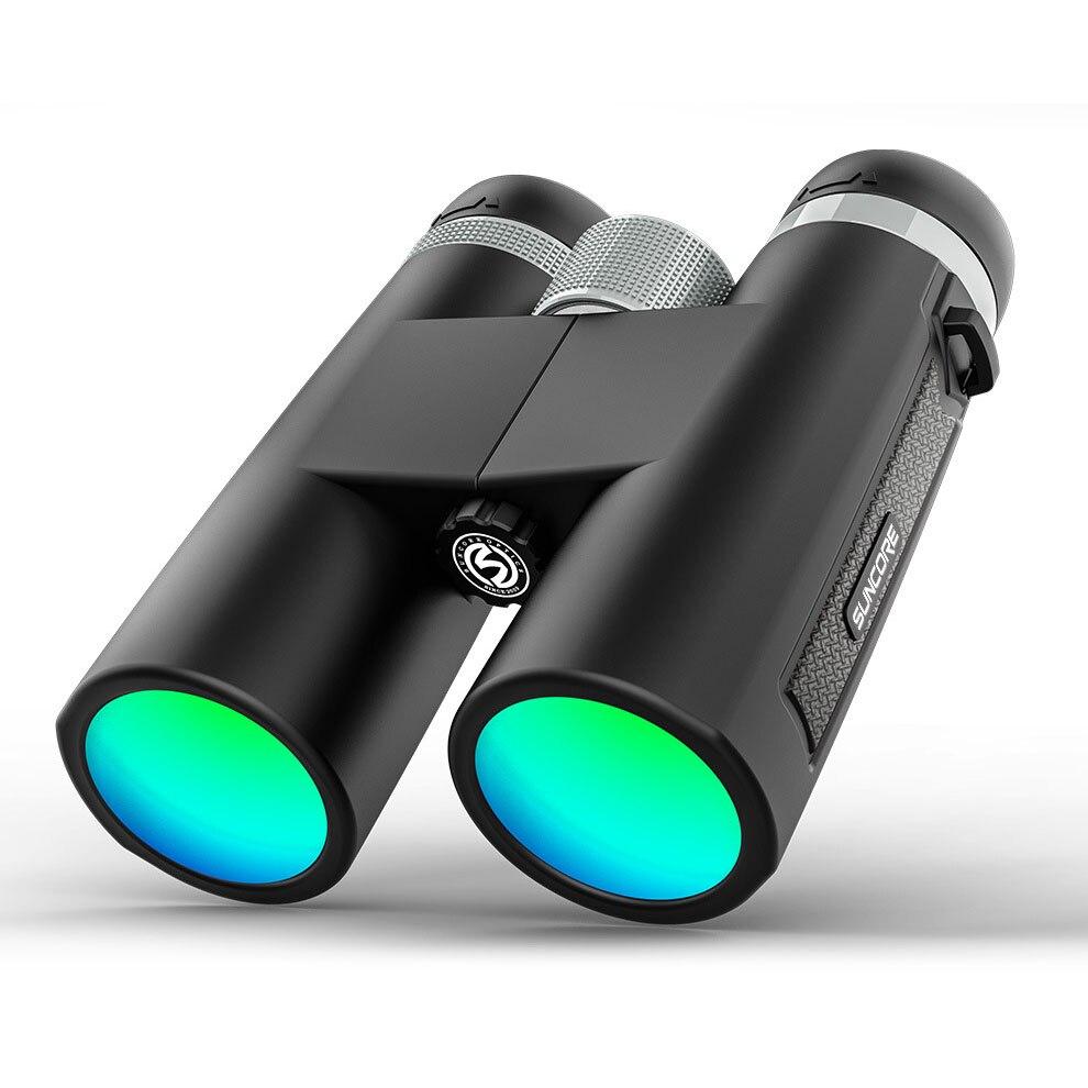 12x42 Binoculars HD High Power Bak-4 Prism Multi-layer Green Coating Optics Portable Telescope Outdoor Hiking Camping