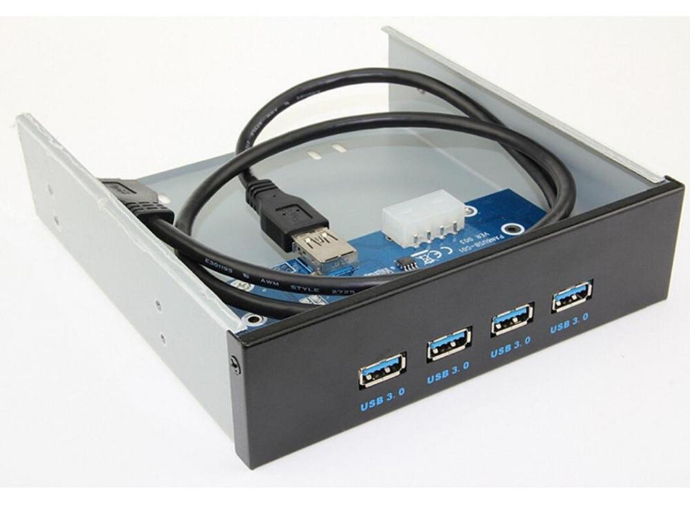 LBSC 4-Portas USB 3.0 5.25 polegada de Metal Painel Frontal Hub USB para Desktop [20 Pin Connector & 2ft Cabo Adaptador]