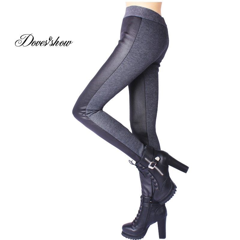 Leggings Moda Inverno Costura de Couro Do Falso das mulheres Engrossar Calças De Veludo Calças Lápis Slim Plus Size Leggings XXXXXL