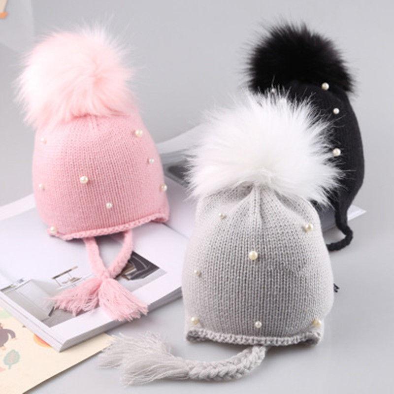 2020 горячая Распродажа, милые детские шапочки для малышей, детские вязаные зимние теплые вязаные шапки, шапки для маленьких мальчиков и девочек, меховые наушники с бусинами
