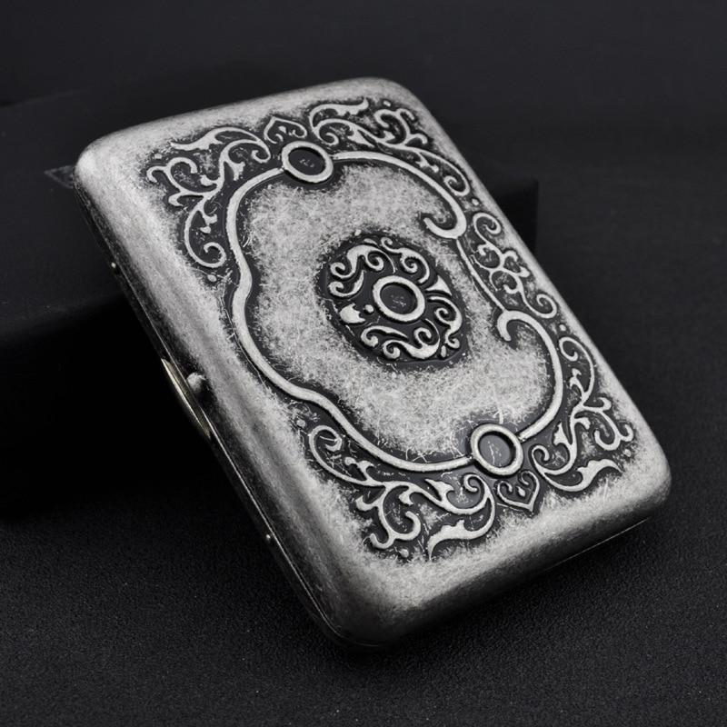 5pcs/lot Chinese style Engraved flower antique silver metal Cigarette Case Gift Box for 16pcs Cigarettes vintage Tobacco box enlarge