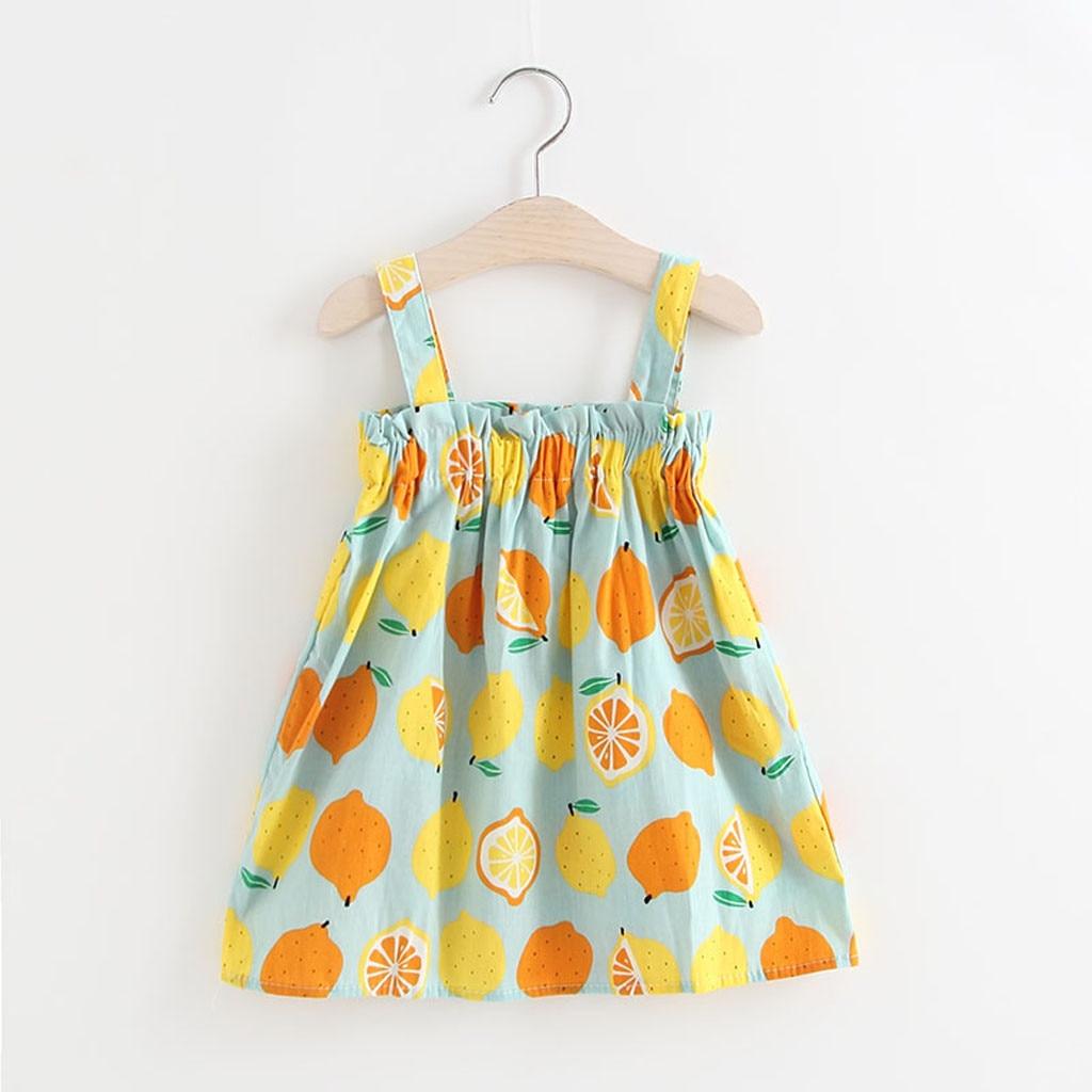 Vestidos infantiles para niñas bebé niñas estampado de limón sin mangas vestidos de princesa trajes niñas vestido de verano vestido #06