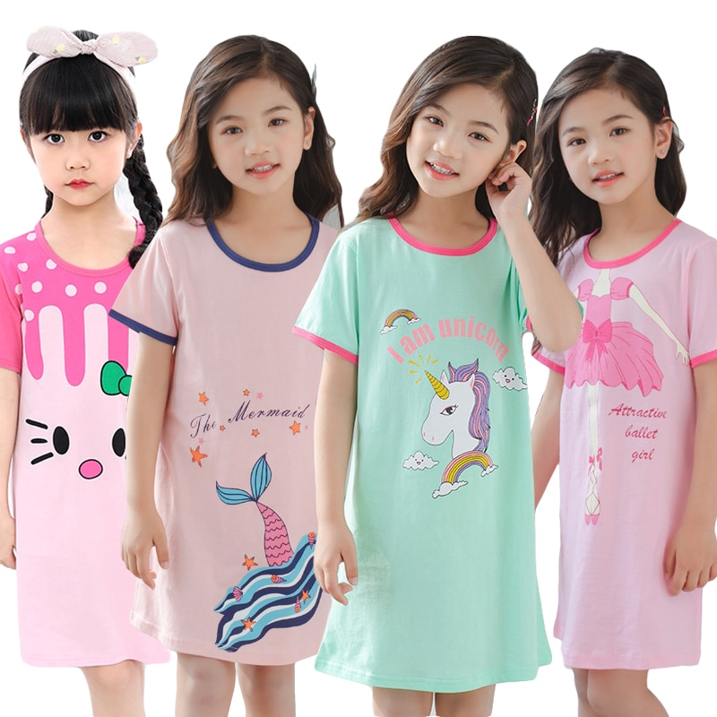 Unicorn Cotton Nightdress Little Teen Girl Pajamas Dresses Children Cartoon Summer Nightgown Home Cl