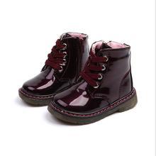 لامعة براءات الاختراع والجلود طفل فتاة الأحذية ربيع الخريف الفتيات مارتن الأحذية الاطفال حذاء من الجلد فتاة أحذية رياضية بيضاء حجم 21-30