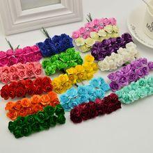 Fleurs artificielles en papier 144 pièces 1cm   Fausses Roses, bon marché pour la décoration voiture de mariage, bricolage de couronne pour bonbonnière