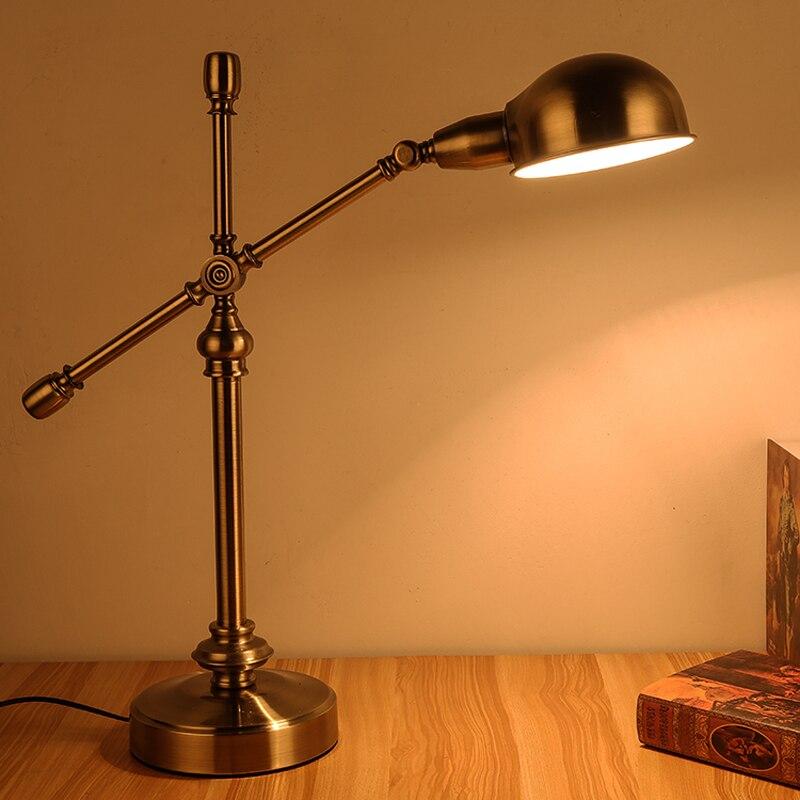 Bedroom desk lamp study bedside American Rural retro antique copper desk lamp European style creative led work lamp bedside