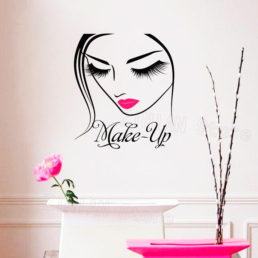 Maquillaje artista cartel pegatina pared maquillaje diseño salón de belleza maquillaje moda estilo IMAGEN cosmética cosmetología vinilo pegatina Z385