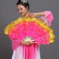 new belly dance fan chinese style christian dance fan five layers of yarn hand folding fan wedding home decoration art crafts