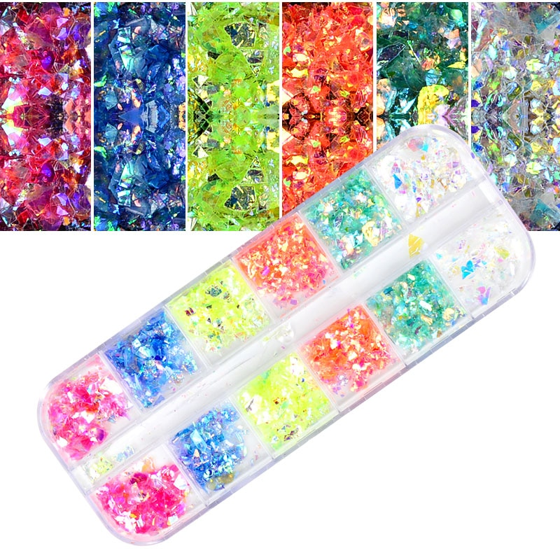 WUF 12 Color Dazzling Nail Glitter Sequins Set Mixed Round/Rhombus/Heart Flake Paillette Tips Manicure Nail Art Decorations недорого