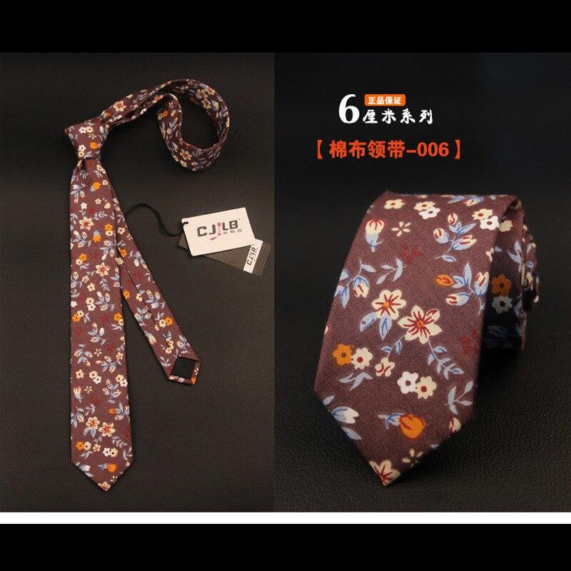 men ties necktie new Korean designers fashion slim narrow cotton 6cm print floral cute for men wedding 5pcs/lot