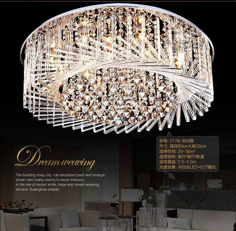 Circular Crystal Ceiling Light For Living Room Home Dining Light Lamp Hotel Creative Retro Iron Lamp E14 LED bulb