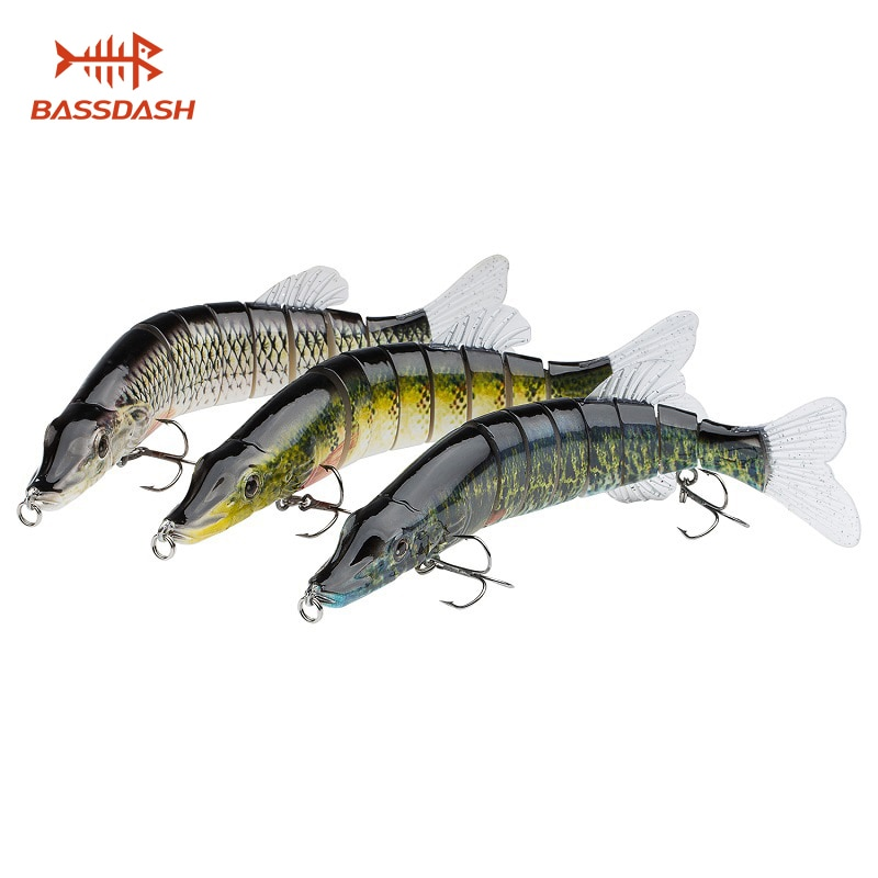 Bassdash Swimbaits Multi Jointed Crankbaits Hard Bluegill Pike Lure for Freshwater Saltwater Bass Game Fishing, 3-Pack, 20cm/70g