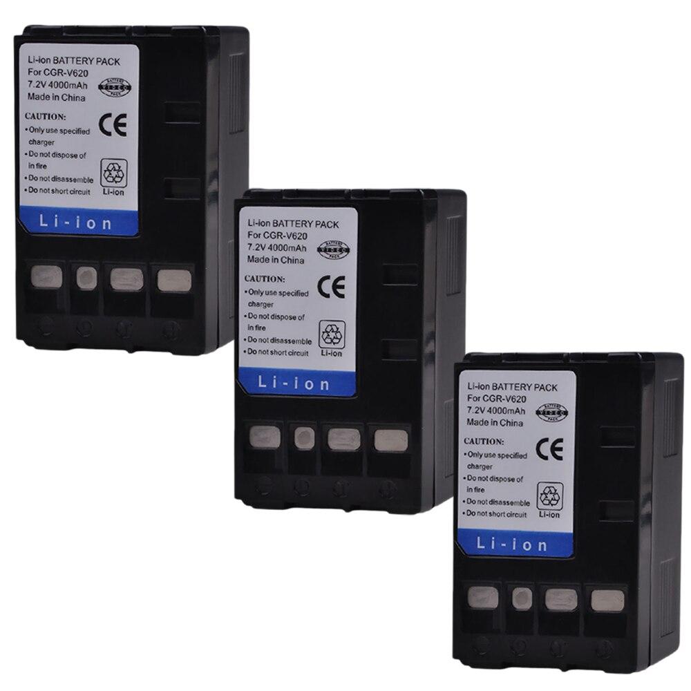 3x4000 mAh PowerTrust CGR-V620 CGR-V14S CGR-V610 CGR-V26S batería para Panasonic V610 V620 NV-RX14 NV-RX17 NV-RX18 NV-RX24 Cámara