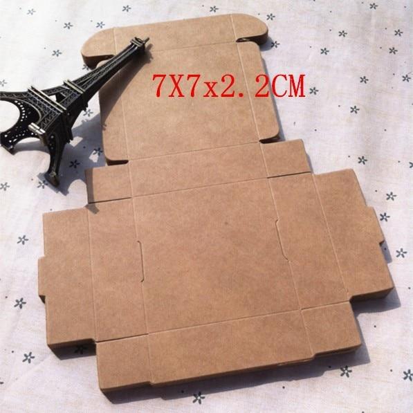 7*7*2.2cm retro pacote de papel kraft alimentos caixas de chocolate embalagens 100 pçs/lote