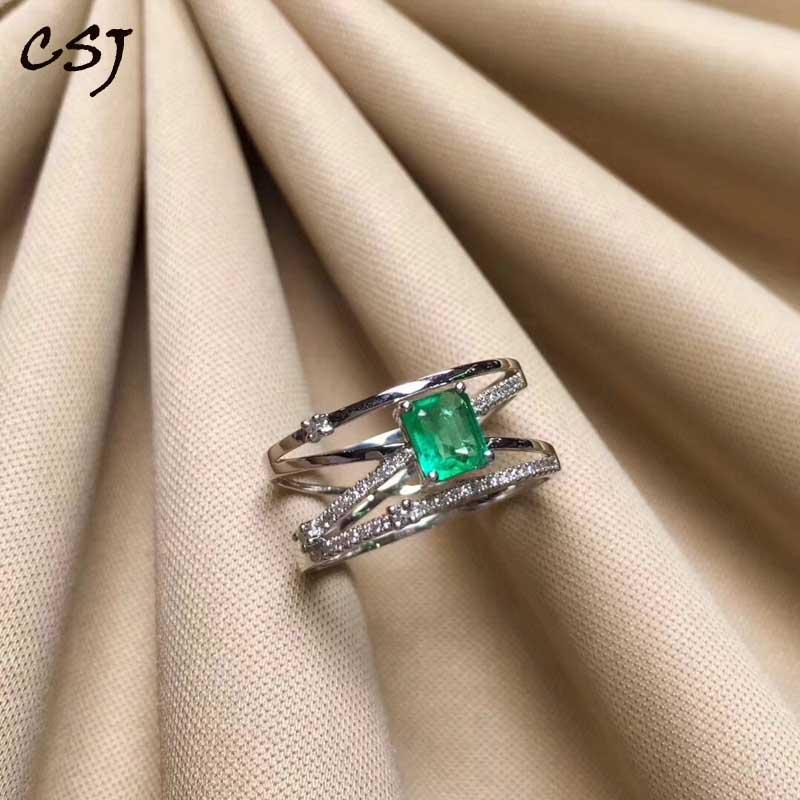 Csj natural verde esmeralda anel 925 prata esterlina 4*6mm pedra preciosa pode birthstone jóias presente para mulher