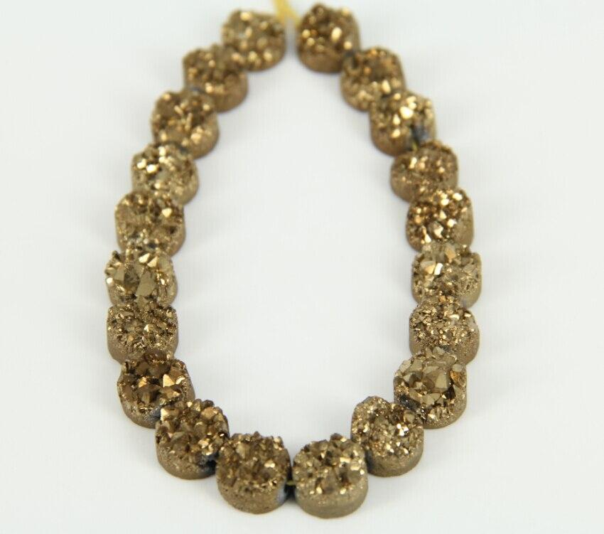 10mm $20 Uds. Oro Natural, placa drusa de titanio, fabricación de collares a granel, Drusy cuarzo en bruto, suministros de colgantes redondos perforados