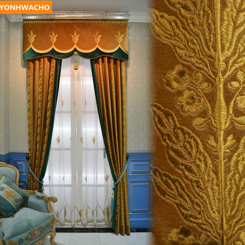 Cortinas personalizadas de lujo de alta calidad francés noble bordado marrón dorado cortina blackout cortina cenefa de tul cortinas N880