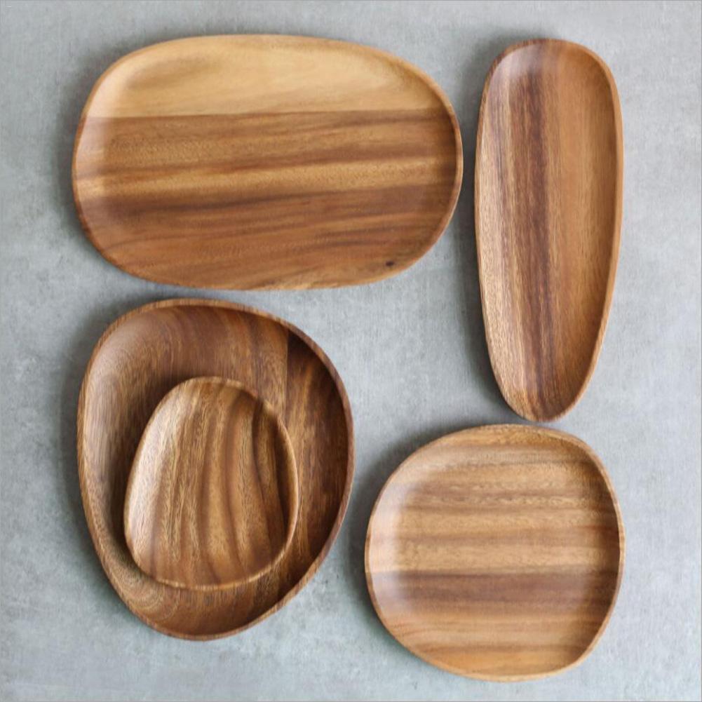 Plato de madera plato redondo plato carne fruta aperitivos bandeja de té platos de restaurante platos de madera bandeja de almacenamiento de alimentos