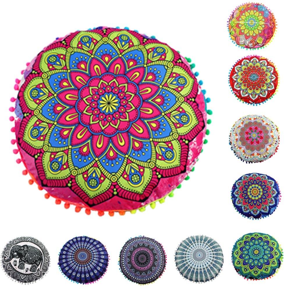 Pillowcase Indian Mandala Floor Pillow Round Bohemian Pillowcase Polyester Cotton Ethnic Style Pillow Case L0404