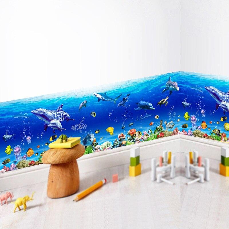 Mundo submarino zócalo pared pegatinas para niños habitaciones pez tiburón delfín calcomanías para pared de cocina decoración del cuarto de niños PVC arte mural