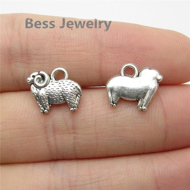 65 Uds (13*11mm) encanto de oveja de plata antigua apto para pandora estilo pulsera brazalete pendientes DIY fabricación de joyería de Metal
