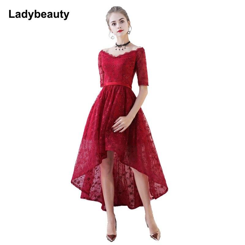Ladybeauty فستان حفلة موسيقية جديد عالي منخفض كم قصير دانتيل فستان سهرة 2018 دانتيل مطرز فستان حفلات Casamento نصف كم