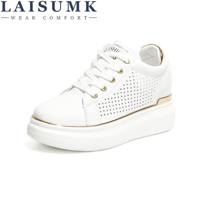 Zapatos de cuña de mujer LAISUMK a la moda, calzado de mujer para aumentar la altura, zapatos informales para mujer, envío gratis, zapatillas de aumento de 8CM