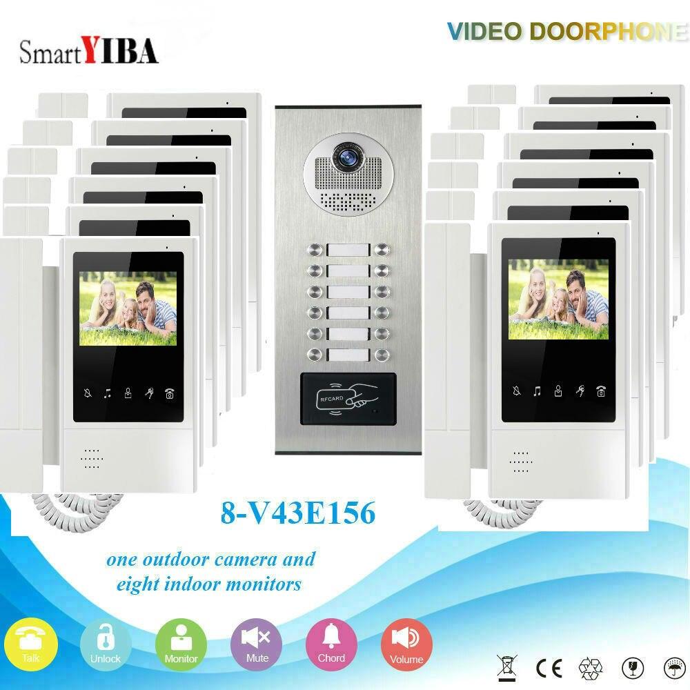 "SmartYIBA Video Door Phone Intercom 4.3""Inch Video Doorbell Door Intercom RFID Outdoor Unit Access Control 1 Camera 12 Monitor"