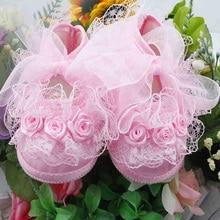 Chaussures de marche pour bébés   Chaussures avec nœud de Rose et ruban, chaussures princesse Born Baby, semelle souple, nouveau