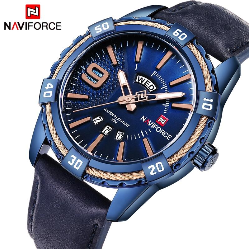 Часы NAVIFORCE мужские, спортивные, водонепроницаемые, кварцевые, с кожаным ремешком