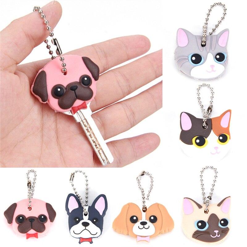 Cartoon Anime Cute Key Cover Cap Silicone Cat Stitch Dog Keychain Women Gift Owl Porte Clef Animal Key Chain