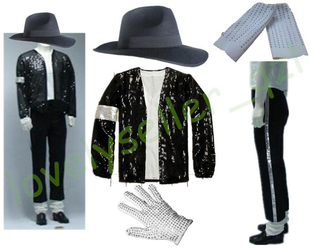 بدلة MJ Michael Jackson Billie من الجينز, بدلة MJ Michael Jackson Billie جينز مطرزة سترة + سروال + قبعة + قفاز + جوارب للأطفال والكبار تظهر لون أسود مطرزة Pacthwork 4XS-4XL