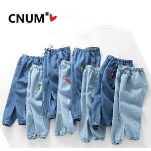 CNUM Kids Boys Pants Summer Cotton Girls Denim Ripped Jeans Thin Long Trousers Kids Clothes  Years Kids Pants
