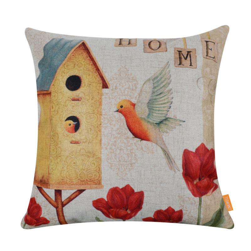 LINKWELL 45x45 cm moda Color brillante primavera hogar madera jaula pájaro casa rojo flor Lino almohada cojín cubre