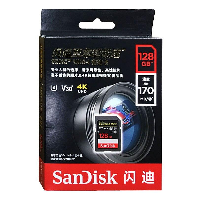 SanDisk SD Card 16GB 32GB 64GB 128GB 256GB Memory Card 80MB/s U1 170MB/s U3 V30 4K For Canon Nikon SLR Camera Shooting 4K Video enlarge