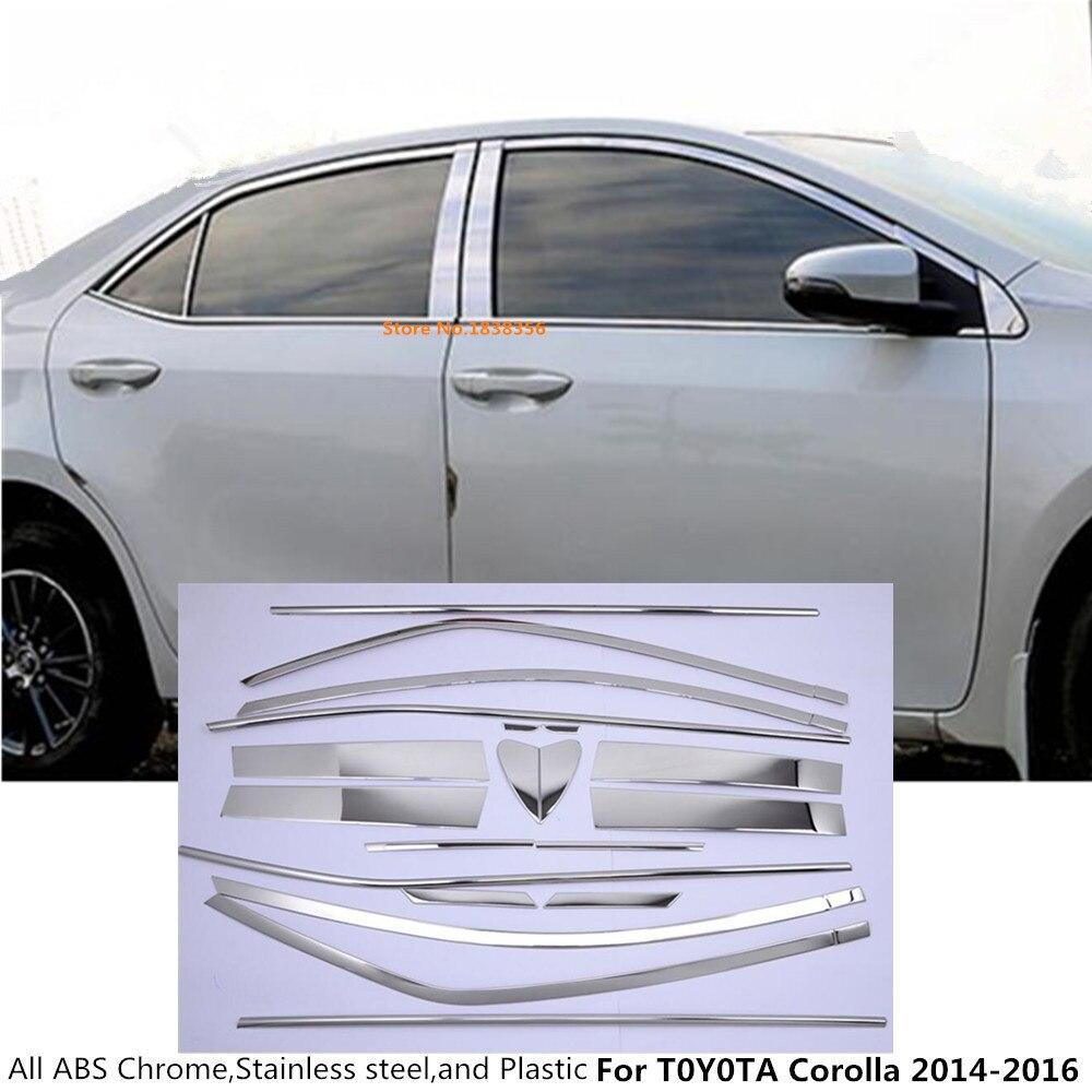 Автомобильный корпус из нержавеющей стали Стекло окно гарнир столб средней колонны отделка вытяжки для Toyota Corolla Altis 2014 2015 2016