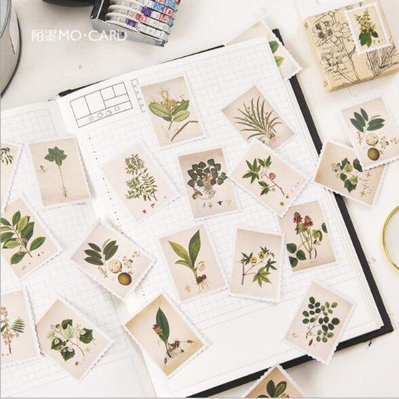 45 pçs/caixa Plantas Vintage Stamp Mini Diário Scrapbooking Selo da Etiqueta da Etiqueta de Papel Adesivo Decoração Criativa DIY Papelaria Kawaii