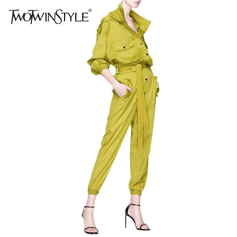 TWOTWINSTYLE con capucha para mujer bolsillos de mono de encaje de alta cintura de manga larga mono 2020 otoño Streetwear moda nuevo