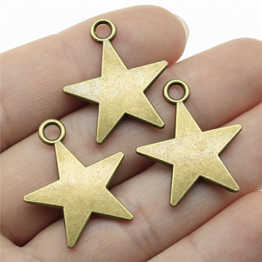 3 piezas de colgante de estrella Vintage de 26x22mm para hacer joyas colgante de estrella de pentagrama de Color bronce antiguo