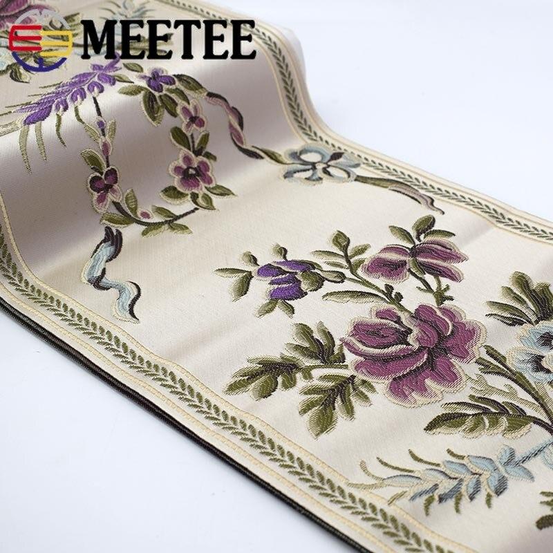 Meetee 2 yardas 23CM cinta de flores de dibujos animados cintas de encaje bordado étnico para hogar tela cortina Mesa almohada decorativa ZK5022