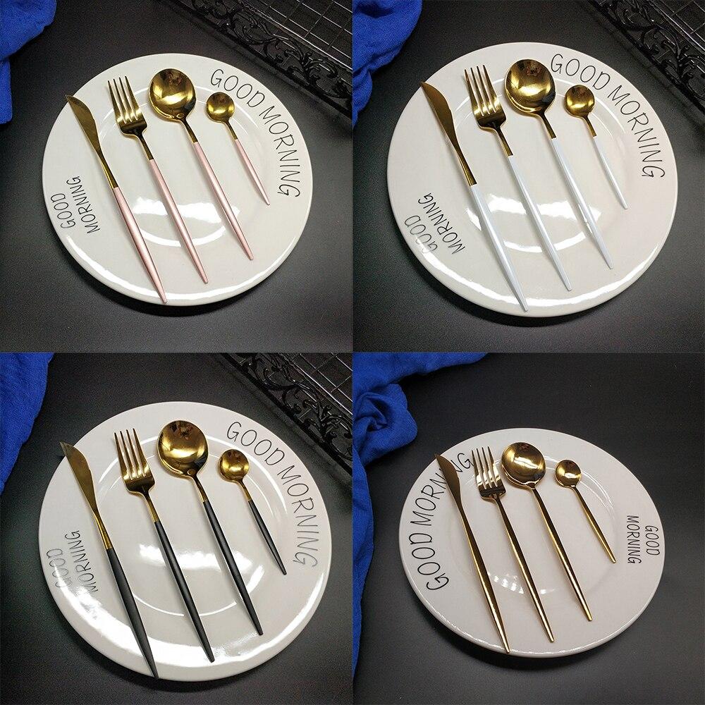 Talheres de aço inoxidável, 16/peças, faqueiro dourado, garfos, colheres de aço inoxidável