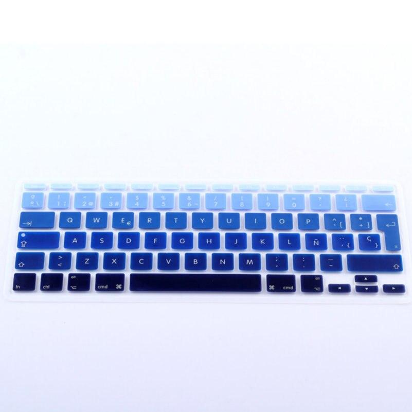 "Gradiente azul Rainbow español UK EU silicona Keyboard cover skin protector para Apple MacBook Air 11 ""11.6 pulgadas + embalaje"